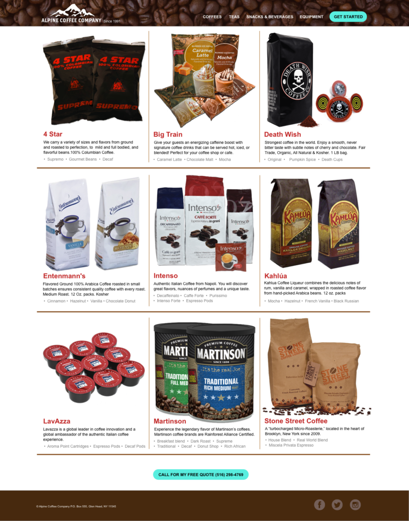 user interface design for coffee products. Coffee photo shoot in Brooklyn, New York., and New York City Area. Visual Design, Web Design